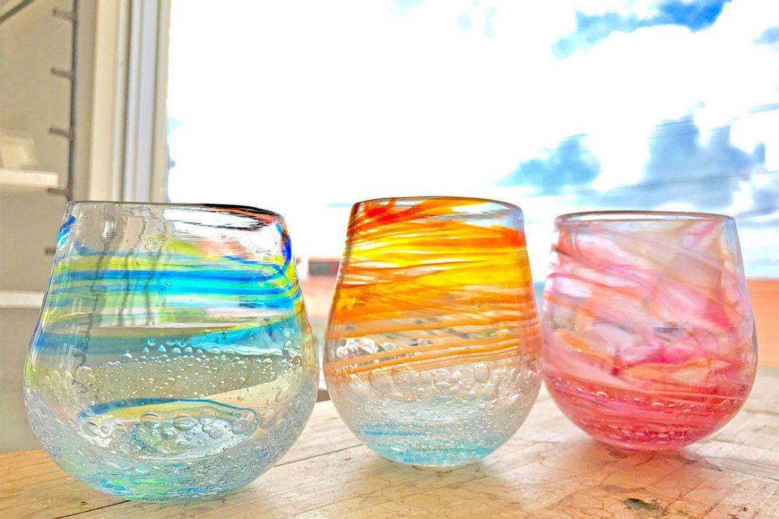 琉球吹きガラス体験で作るグラス例