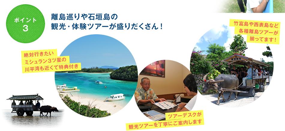 ポイント3 離島巡りや石垣島の観光・体験ツアーが盛りだくさん!