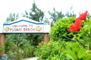 フサキビーチへ向かう小道のハイビスカス