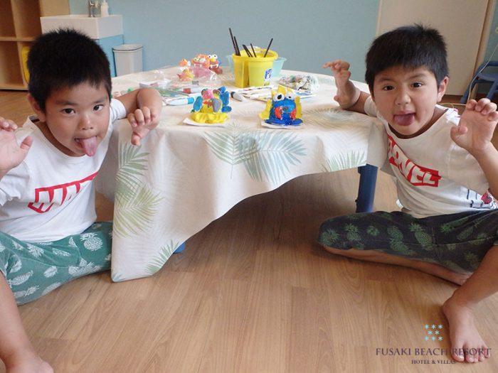 アヤパニ子供教室シーサー作りに2回目も参加した兄弟